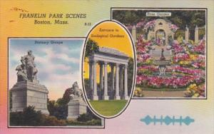 Massachusetts Boston Rose Garden Statuary Groups and Zoological Gardens Entra...