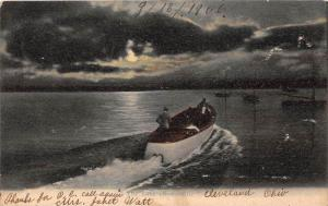9460 Antique Wood Speed boat  at night on Lake Erie