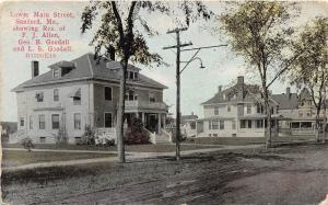 B86/ Sanford Maine Me Postcard c1910 Lower Main Street Allen Goodall Homes