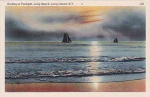 New York City Long Island Sailing At Twilight Along Long Beach
