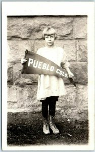 Colorado RPPC Real Photo Postcard Little Girl w/ PUEBLO COLO. Pennant c1920s