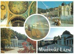 Postcard CZECH REPUBLIC multi view marianske lazne colonnade church architecture