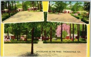 Thomasville, Georgia Postcard WOODLAND IN THE PINES Motel Hwy 19 Roadside Linen