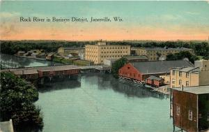 Janesville Wisconsin~Rock River~Waterfront Business District~1916 Postcard