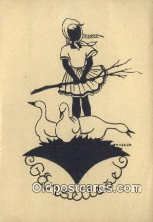 Artist M Henze, Continental Size Silhouette Postcard Post Card Old Vintage An...