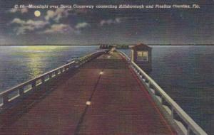 Florida St Petersburg Moonlight Over Gandy Causeway Curteich