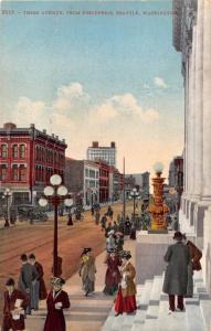 SEATTLE WA THIRD AVENUE FROM POST OFFICE~EDWARD MITCHELL #2109 POSTCARD 1910s