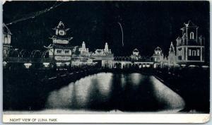 Cleveland, Ohio Postcard NIGHT VIEW OF LUNA PARK Amusement Park 1907 RPO Cancel