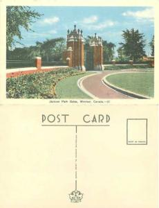 Jackon Park Gates in Windsor, Ontario, Canada, White Border