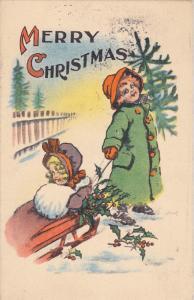 Merry CHRISTMAS; Boy in rain coat pulling girl wearing bonnet and hand muff o...