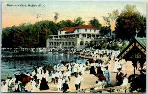Buffalo, New York Postcard Delaware Park People Scene / 1911 NY Cancel