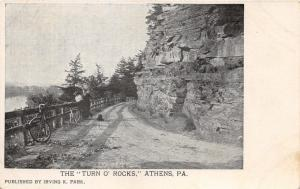 Athens Pennsylvania~Turn O' Rocks~Man & Lady Viewing River by Bicycles~1905 PC
