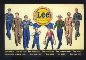 LEE WORK CLOTHES BLUE JEANS CLOTHING ADVERTISING POSTCARD