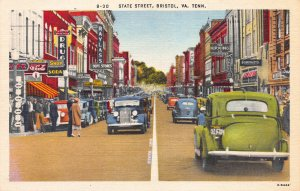 State Street, Bristol, Virginia-Tennessee, Early Linen Postcard, Unused