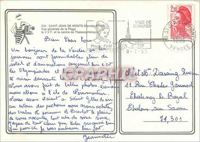 Modern Postcard Saint Jean de Monts (Vendee) View Beach of the VVF Generale a...