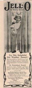 1907 Original Print Ad Adorable Girl Jell-O Dainty Dessert Ice Cream 2P1-6
