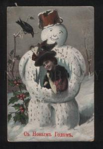 056746 Lady in Smiling SNOWMAN vintage RUSSIAN PC