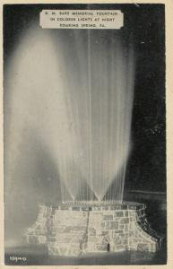 ROARING SPRING, Pennsylvania, 1930s; D.M. Bare Memorial Fountain at Night