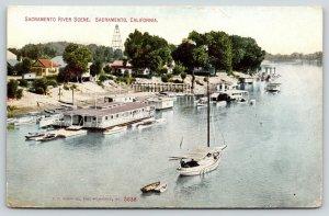 Sacramento CA~Shoreline River Cabins & Homes~Pavilion~Boat Tows Dinghy~1908 PC