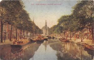 The Hague-Den Haag Holland~Turf Market~Boats on Canal~c1910 Postcard