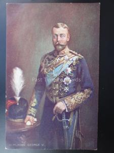 H.M. KING GEORGE V in military uniform with helmet on table c1913 by R.Tuck 9822