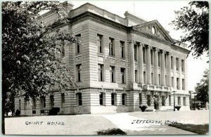 Jefferson, Iowa RPPC Photo Postcard GREENE COUNTY COURT HOUSE Building View 1944