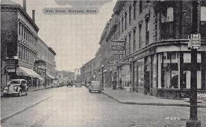 Rockland ME Main Street Store Fronts Old Cars Barber Shop Postcard