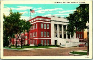 Chanute, Kansas Postcard MEMORIAL BUILDING Street View Curteich c1930s