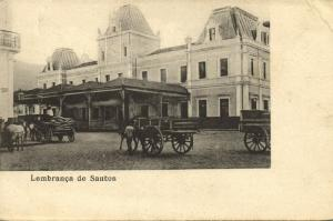 brazil, SANTOS, Street Scene with Horse Carts (1899)