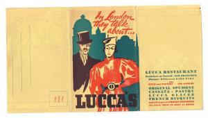 Lucca's Luncheon Menu Mailer LA San Francisco CA