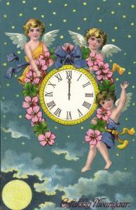Happy New Year with Angels and Clock (1911) Postcard