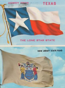 New Jersey Texas State USA Flag 2x Postcard s