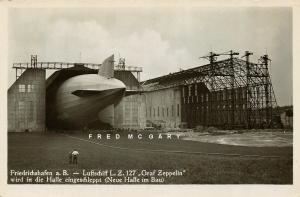 1930 Friedrichshafen Germany RPPC: New Zeppelin Hangar Construction [Edenharter]