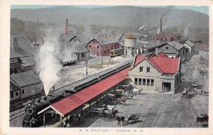 Keene New Hampshire Railroad Station Birds Eye View Vintage Postcard AA2409
