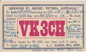 BIRCHIP, Australia - QSL card for VK3CH , Sherwood St. , 1950s - A C Harris