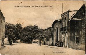 CPA Saint-Bres-La Poste et Avenue de Lunel (255531)