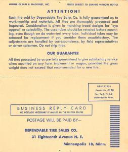 Minneapolis Dependable Tube Tire Sales Advertising Postal~Enderlin ND Dealer '52