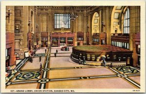 KANSAS CITY, MO Postcard Grand Lobby, UNION STATION Fred Harvey Linen c1940s