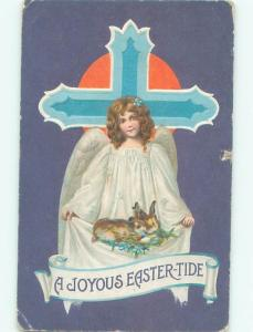 Pre-Linen Easter CUTE BUNNY RABBITS HELD BY ANGEL AB3729