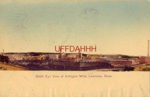 1908 BIRD'S EYE VIEW OF ARLINGTON MILLS, LAWRENCE, MA