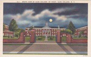 North Carolina Elon College South View Of Elon College By Night Albertype