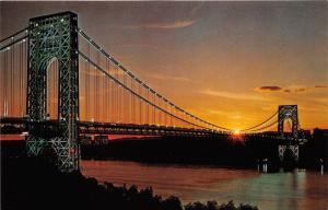Fort Lee New Jersey-Manhattan New York~George Washington Bridge @ Sunset~1977 Pc