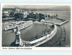 old rppc SHIP BOATS IN HARBOR Lindau Germany HM1989