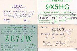 Salisbury Bulawayo Rhodesia Rwanda 4x Vintage QSL Radio Station Card s