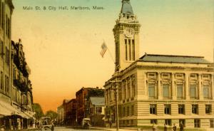 MA - Marlboro. Main Street and City Hall