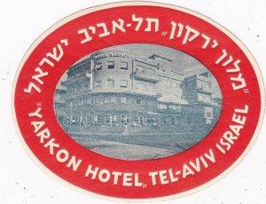 Israel Tel Aviv Yarkon Hotel Vintage Luggage Label sk2739