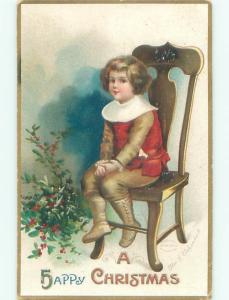 Pre-Linen Christmas signed CLAPSADDLE - CHILD ON CHAIR IN BUTTON SHOES AB5652