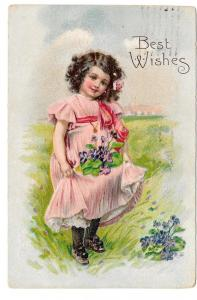 Best Wishes Pretty Girl Pink Dress Violets Embossed Postcard