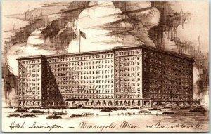 MINNEAPOLIS, Minnesota Postcard HOTEL LEAMINGTON Artist's Street View c1950s
