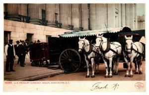 US Treasury Currency Horsedrawn Wagon At Washington DC w/ Horses Money A590